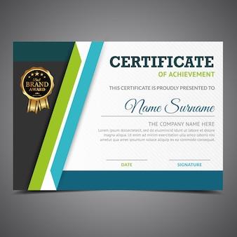 Niebieski i zielony certyfikat osiągnięcia