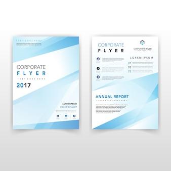 Niebieski kształt z powrotem i przedniej ulotki firmy