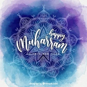 Niebieski muharram akwarela tła