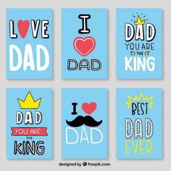 Niebieski najlepszy zestaw kart tata