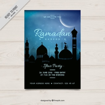 Niebieski ramadan party plakat