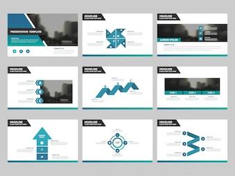 Niebieski zielony Szablony prezentacji abstrakcyjnej, elementy Infographic szablon płaski zestaw do broszury rocznej ulotka ulotka reklamowa szablonu reklamy marketingowej
