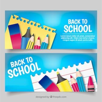 Niebieskie powrót do szkoły banery