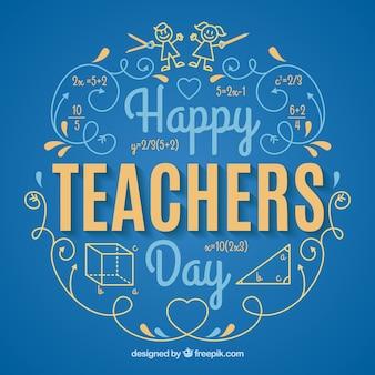 Niebieskie tło, dzień nauczyciela