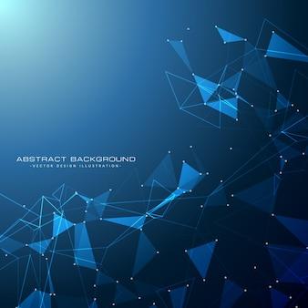 Niebieskie tło technologii cyfrowej z kształtami trójkąt