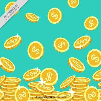 Niebieskie tło z błyszczącymi złotymi monetami