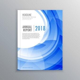 Niesamowite broszury ulotki szablon z niebieskim efekt fali
