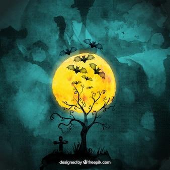 Nietoperze Halloween akwarela