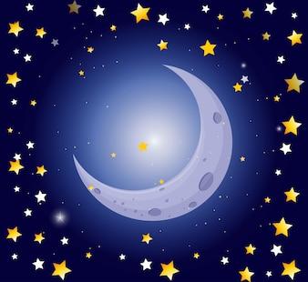 Noc sceny z księżyca i gwiazd