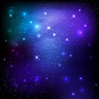 Nocne niebo obszar tła z gwiazd i galaktyk