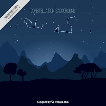 Nocny krajobraz konstelacjami tle