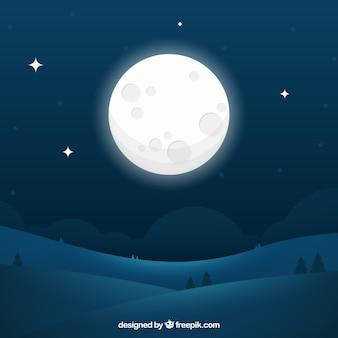 Nocny krajobraz tła z wielkim księżycem