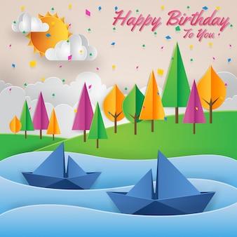 Nowoczesna Adwentu Papierowa karta sztuki Happy Birthday Card