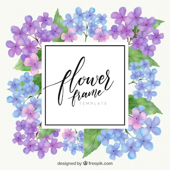 Nowoczesne akwarela kwiatu ramki z kolorowym stylu