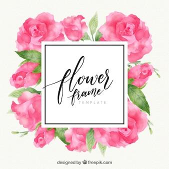 Nowoczesne akwarela kwiatu ramki