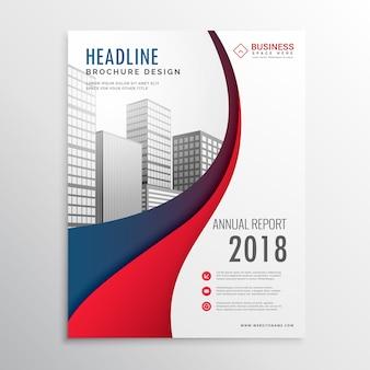 Nowoczesne czerwone i niebieskie fali biznesowych broszura szablon projektu