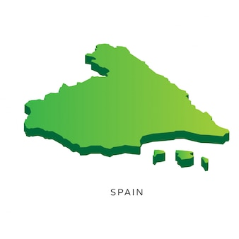 Nowoczesne Isometric 3D Hiszpania Mapa