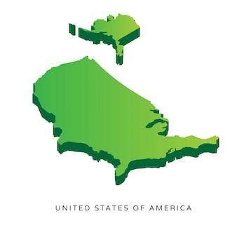 Nowoczesne Isometric Stany Zjednoczone Ameryki Mapa