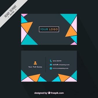 Nowoczesne korporacyjnych kart z płaskich kolorowych trójkątów