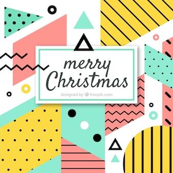 Nowoczesne memphis Boże Narodzenie w tle