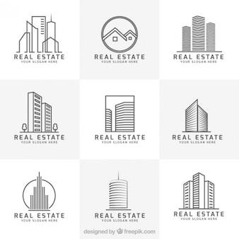 Nowoczesne nieruchomości kolekcja logo