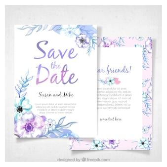 Nowoczesne zaproszenia ślubne akwarela