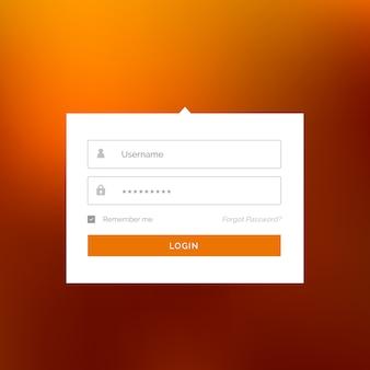 Nowoczesny biały login szablon projektu formularza interfejsu użytkownika