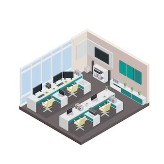 Nowoczesny izometryczny projekt 3D wnętrz biurowych