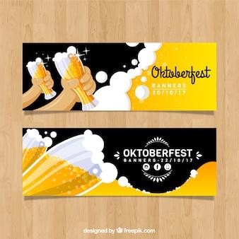 Nowoczesny zestaw banerów oktoberfest z piwo
