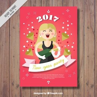 Nowy rok broszura stron z kobietą i butelka szampana