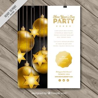 Nowy rok party plakat ze złotymi bombkami