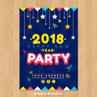 Nowy rok plakat z gwiazdami