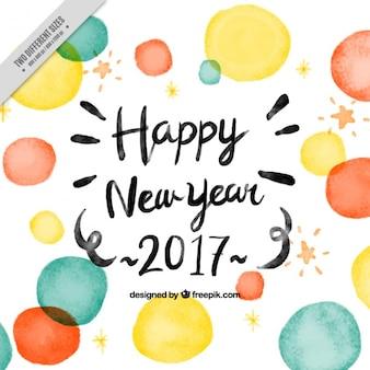 Nowy rok tła z okręgów akwarela
