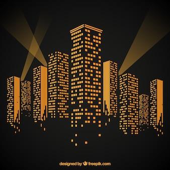 Oświetlone budynki