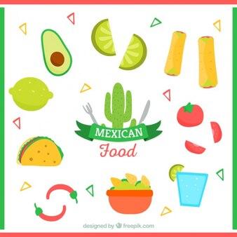 Odmiana typowo meksykańskie jedzenie w płaskiej konstrukcji