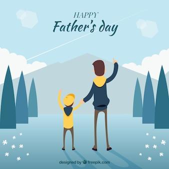 Ojciec i syn w tle