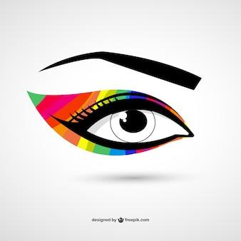 Oko kolorowe makijaż wektor