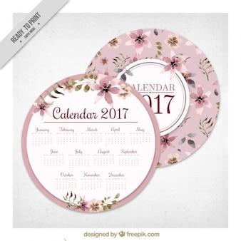 Okrągły kwiatowy 2017 kalendarz