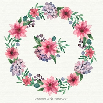 Okrągły kwiatowy rama z pięknym stylem