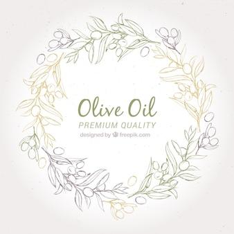 Okrągły tle oliwy z wieńcem