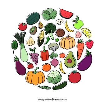 Okrąg z owoców i warzyw