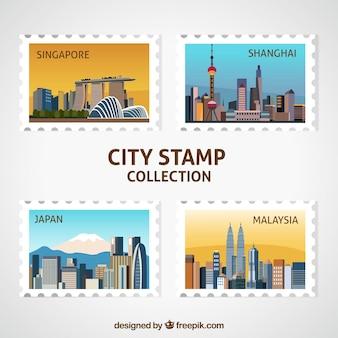 Opakowanie czterech ozdobnych znaczków miasta