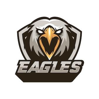 Orzeł ptak zwierząt sport maskotka głowa logo wektora