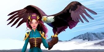 Orzeł trener elf na górach Wektor fantasy ilustracji