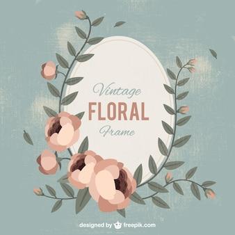 Owalne kwiatów ramka w stylu vintage