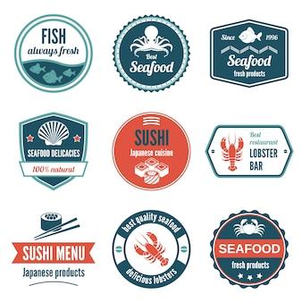 Owoce morza zawsze świeże produkty rybne przysmaki sushi japoński kuchni lobster ikony zestaw izolowanych ilustracji wektorowych.