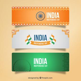 Ozdobne banery Indii dzień niepodległości