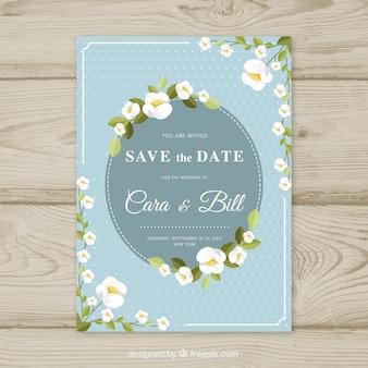Płaska karta ślubna z kwiatami i okrąg