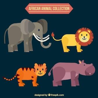 Płaski i miły afrykański kolekcja zwierząt
