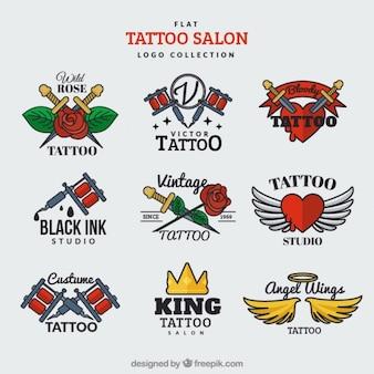 Płaski kolekcja logo na salonie tatuażu